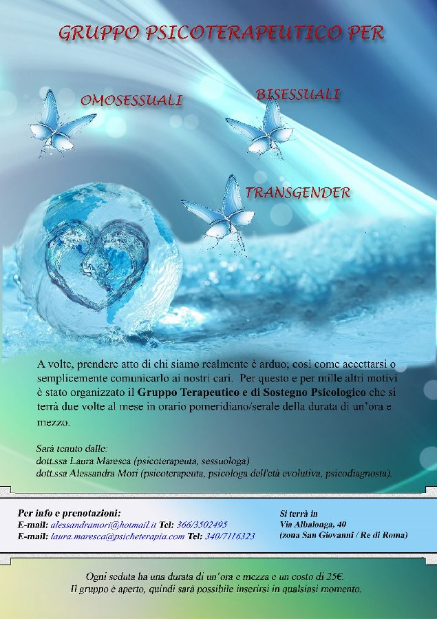 Gruppo Psicoterapeutico per Omosessuali Bisessuali e Transgender - Dott.ssa Laura Maresca Psicologa Roma